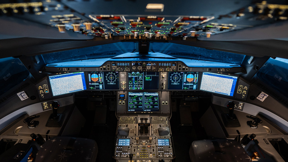 Illuminated cockpit of a full flight simulator